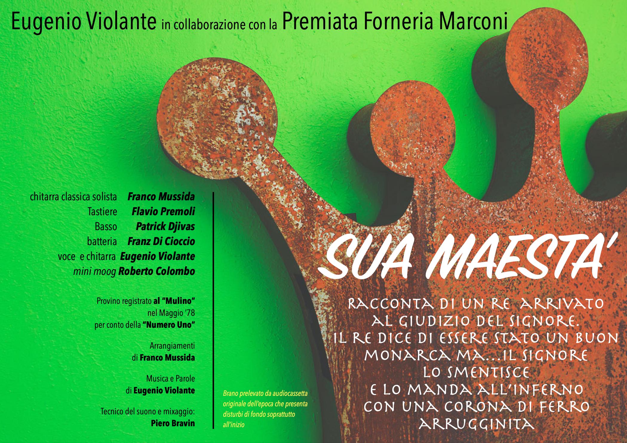 SUA MAESTA Eugenio Violante con la PFM